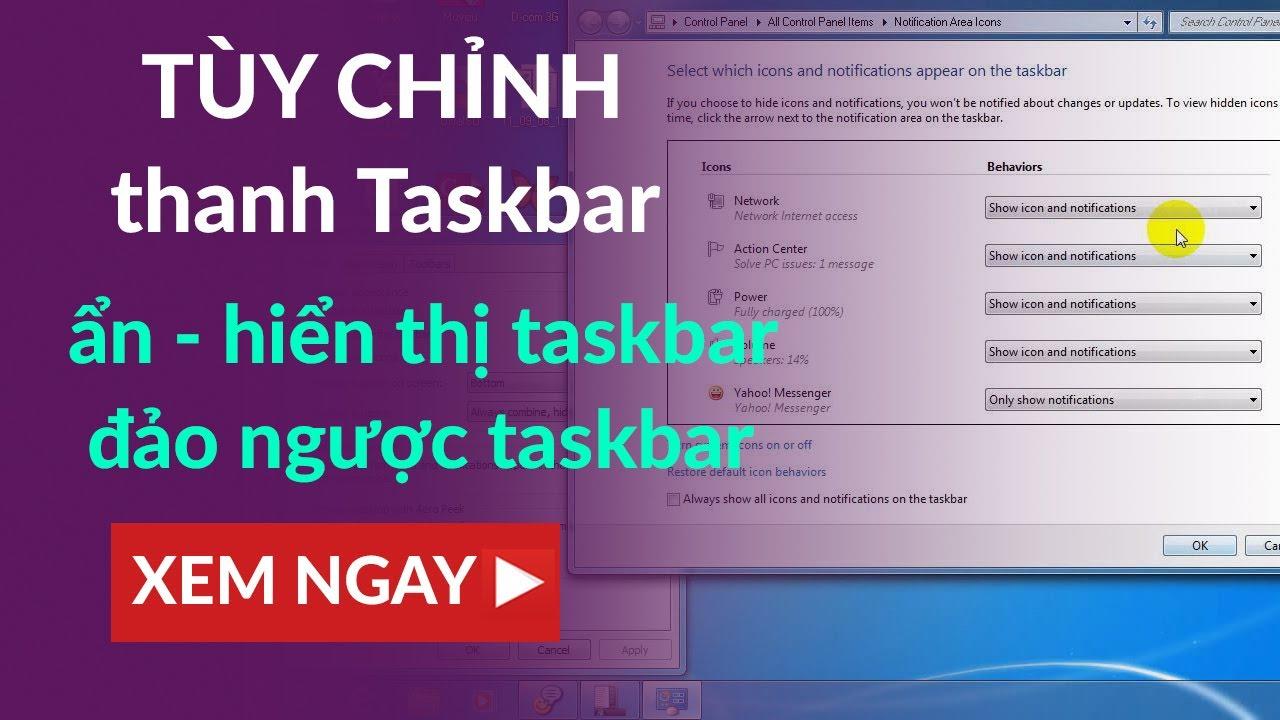 ẩn hiện thanh Taskbar