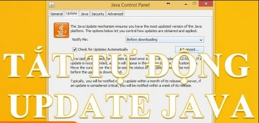 tắt thông báo Java Update