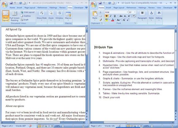 chia đôi màn hình trong trình soạn thảo văn bản